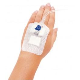 Για την αποστειρωμενη περιποίηση του τραύματος σε σημεία του σώματος όπου έχει τοποθετηθεί βελόνη και την ταυτόχρονη στερέωση του φλεβικού παραμένοντα σωληνίσκου.