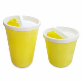 Ειδικά δοχεία για την απόρριψη αιχμηρών μολυσματικών αντικειμένων.Είναι κατασκευασμένα από ειδικού τύπου πλαστικό (πολυπροπυλένιο).Το προϊόν είναι μη τοξικό τόσο κατά την χρήση του όσο και κατά την καύση του με κύριο χαρακτηριστικό ότι δεν αφήνει υπολλείμ